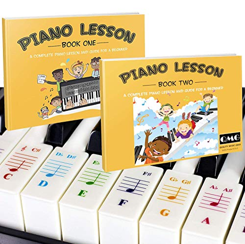 Color Piano and Keyboard Stickers and Complete Color Note Piano Music Lesson and Guide Book 1 and Book 2 for Kids and Beginners; Designed and Printed in USA