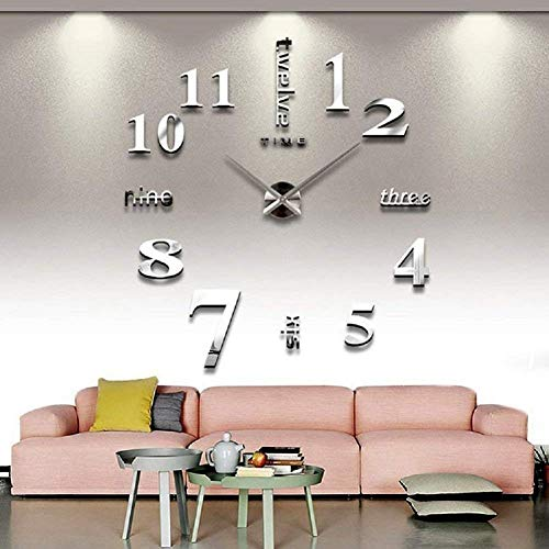 Qpower Modern Mute DIY Large Wall Clock 3D Sticker Home Office Decor Gift (silver)