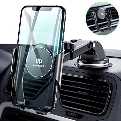 DesertWest Upgraded Car Phone Holder Mount [Auto-Memory Clamp] Hands-Free Cell Phone Holder for Car Dashboard Windshield Vent 30X Stronger Suction Mount Full Protection for iPhone 12 11 Samsung S20 10