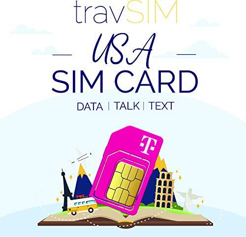 travSIM USA SIM-Karte (T-Mobile SIM-Karte) 60 Tage gültig - 50 GB 3G 4G LTE Mobile Daten - USA T-Mobile US SIM-Karte (Funktioniert auch in Kanada und Mexiko, 5 GB kombiniert)
