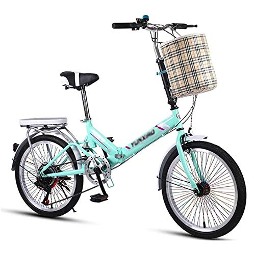 Pliuyb 20-inch Foldable Bicycle 7-Speed Variable Speed 10 Seconds Foldable high Carbon Steel Frame Male and Female Student Bicycle City Commuter car (Color : E)