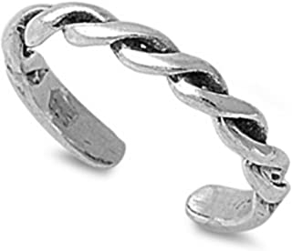 California Toe Rings Women's Sterling Silver Thick Braid Midi Above The Knuckle Adjustable Toe Ring