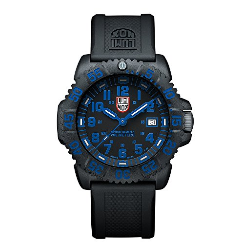 Luminox Mens Watch Evo Navy Seals Colormark Black Blue (XS.3053 Series) - 200 Meter Water Resistant Day Date Indication Lightweight Carbon Case