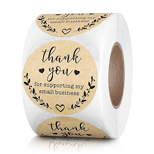 2 Inch Round Thank You for Supporting My Small Business Stickers Kraft Labels for Bakeries, Crafters & Small Business Owners