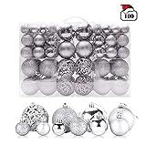 HAKACC Weihnachtskugeln Silber, 100 Stück Weihnachtsbaumkugeln Kunststoff Christbaumschmuck Aufhänger Christbaumkugeln für den Weihnachtsbaum Dekoration Weihnachtsdeko
