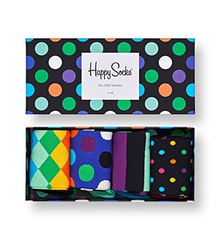 Happy Socks - Gemischt farbenfrohe Geschenkbox an Baumwollsocken für Männer & Frauen, Big Dot Gift Box 0100, 36-40