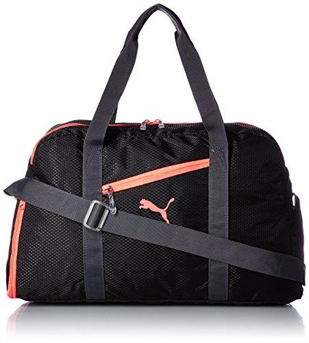 Puma-Borsone da palestra Fit at Sports Duffle, Unisex, Fitness Tasche Fit AT Sports Duffle, Black/Periscope/Fluro Peach, Taglia unica