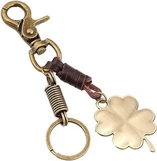 Jzcky Shzrp Retro Zinc Alloy and Leather Four-Leaf Clover Keychain