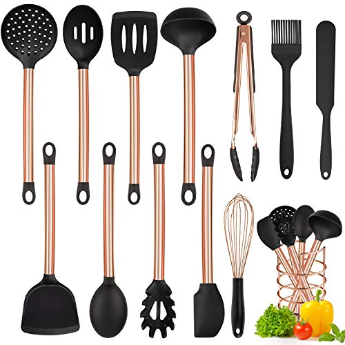 MIBOTE - Juego de utensilios de cocina con soporte, 13 piezas de silicona y mango de acero inoxidable, color cob