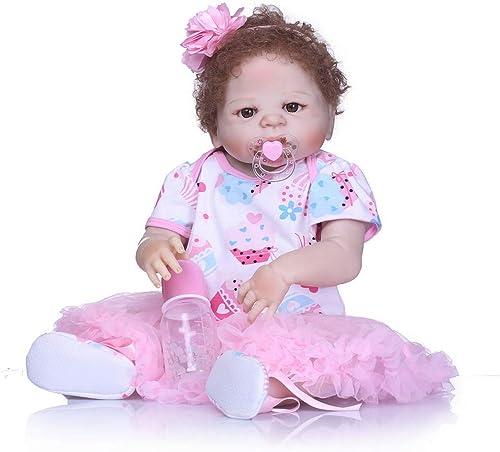 HOOMAI New 23Zoll 57cm volle Silikon   Real Touch Baby waschbar lebensechte Reborn Puppen Neugeborenes GeschWeiße Prinzessin Rosa Kleidung Kit