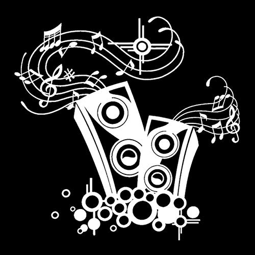 FAFPAY Sticker de Carro 17 cm * 16,8 cm Altavoces interesantes Amante de la música Silueta Vinilo Pegatina para Coche decoración S9-0729Plata