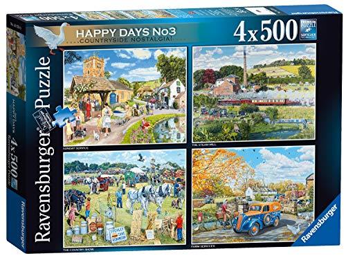 Ravensburger 16578 Happy Days No.3 Country Nostalgia Puzzle 4 x 500 Teile für Erwachsene & Kinder ab 10 Jahren