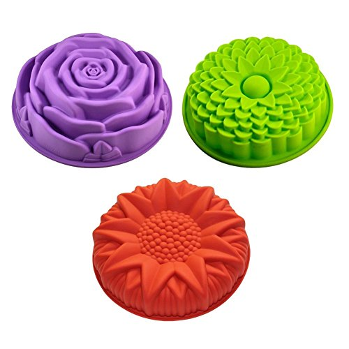 Sharlity 3 Pack Non-Stick Flower Shape Silicone Cake Bread Pie Flan Tart Molds Large Round Sunflower Chrysanthemum Rose Shape Baking Trays for Birthday Party DIY (flower)