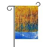 MyDaily Herbstbaum Blauer Teich-Deko-Fahne, doppelseitig, 30,5 x 45,7 x 71,1 x 101,6 cm, Polyester, Multi, 28 x 40 inch