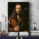 Dabbledown Impresión de Lienzo Cuadro Famoso de Durero con Autorretratos, póster e impresión de Imagen de Pared para la decoración del hogar de la Vida nórdica 60X90CM