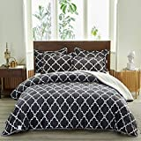 FlySheep Luxury Flannel Sherpa-Backing Thick Heavy Blanket for All Season, 3-Layer Chic Printed Soft Plush Fleece Blanket Set for Bed and Coach (3-Pcs with 2 Pillow Shams) - Dark Gray, Queen