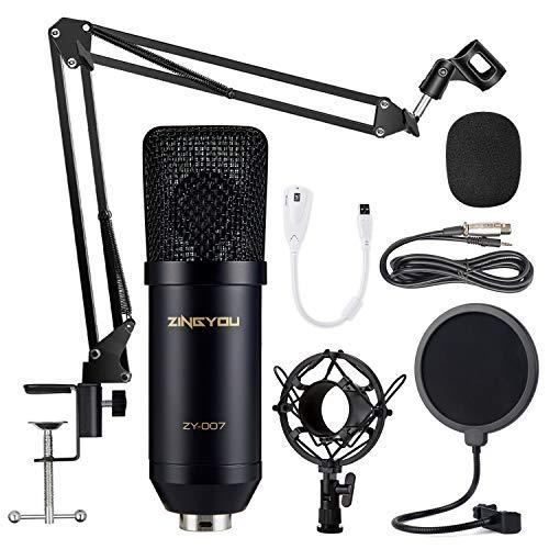 ZINGYOU Kondensator Mikrofon Set, Professionell Tisch Studio Mikrofon mit ArmStänder&Halter, ZY-007 Großmembran Streaming Mic Kit für PC, Aufnahme,Podcast,Gaming,Youtube(Schwarz)