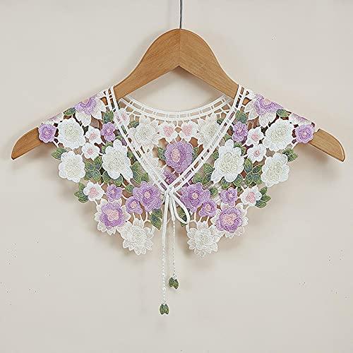 Collar de cuello, cuello de encaje, collares desmontables, para mujer, solapa falsa, collar decorativo con bordado floral, gargantilla, blusa y cuello chal