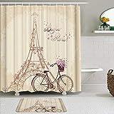 AXEDENRRT Juego de Cortinas y tapetes de Ducha de Tela,Romántica Torre Eiffel Francesa de París con Bicicleta,Cortinas de baño repelentes al Agua con 12 Ganchos, alfombras Antideslizantes