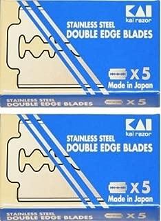 KAI Stainless Steel Double Edge Safety Razor Blades, 10 blades (5x2)