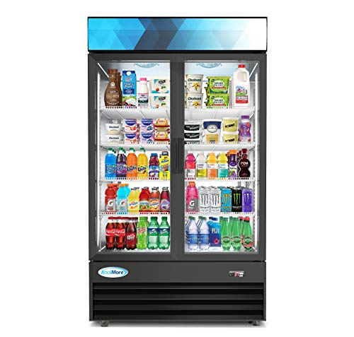 "KoolMore 45"" Commercial Glass 2 Door Display Refrigerator Merchandiser - Upright Beverage Cooler with LED Lighting - 35 Cu. Ft, Black"