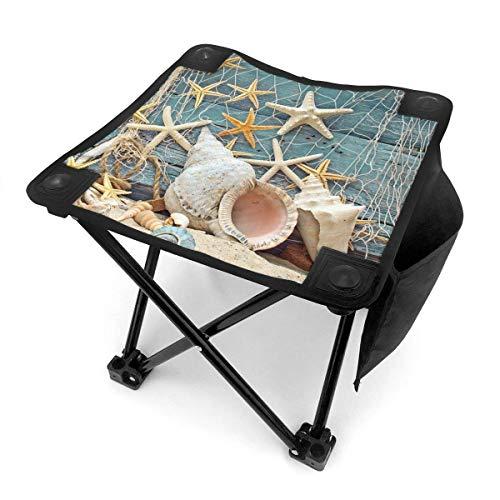 End Nazi Tabouret de Camping chaises Pliantes Filet de pêche sur Planche de Bois siège de Chaise Portable Starfish Beach