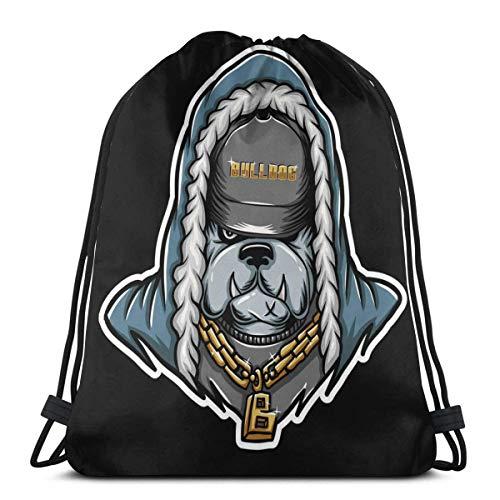 Bulldog Rap Vector Image 3D Print Drawstring Rucksack Schultertasche Sport Gym Bag für Erwachsene 41,9 x 35,6 cm