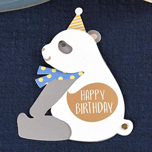 Wenskaarten BLTLYX 1pc Schattige dieren Vorm Gelukkige verjaardagskaarten met envelop voor kinderen Verjaardagsfeestje Benodigdheden Wenskaart Decor Geschenkaccessoires 10,5 * 13,7 cm Panda als foto