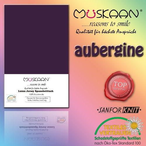 Müskaan Jersey Hoeslakens Afmeting 90x190 tot 100x200 cm Kleur aubergine/pruimen Hoeslaken Bedlaken Laken met elastiek rondom 100% katoen