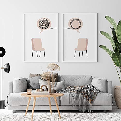 Consejero de terapia Arte de la pared Impresiones digitales Pintura en lienzo Carteles e impresiones nórdicos Imágenes de pared Póster de psicólogo 40x50cm-2 piezas sin marco