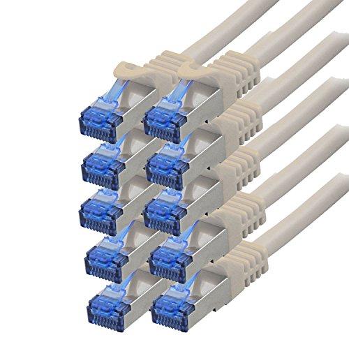 BIGtec - 10 Stück - 0,5m CAT.7 Gigabit Patchkabel Netzwerkkabel grau Kupferkabel Patch Ethernt LAN DSL Kabel CAT7 (RJ45, Cat 7, S/FTP PIMF) 50cm 0,50m