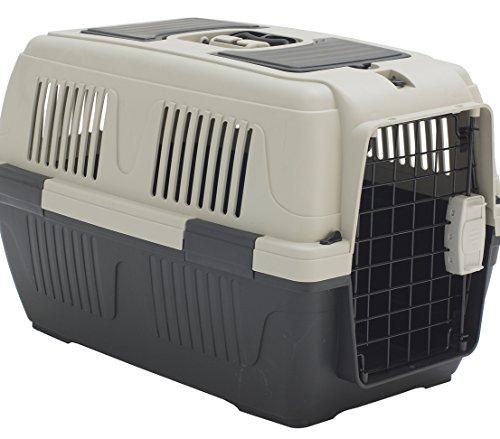 Dehner Transportbox Dino für Hund oder Katze, ca. 63 x 41 x 40 cm, Kunststoff, grau/grün