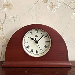 TXL Wood Desk Clock Digital Battery Operated Silent Table Clock Easy Set Kids Beech Bedside Clock for Home Office/Seniors,Red-Roman