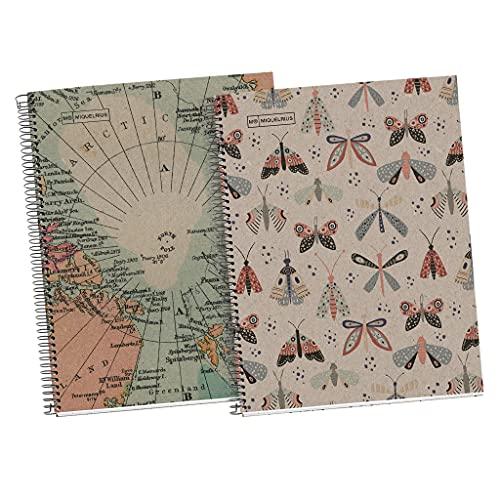 Miquelrius Pack 2 Cuadernos 100% Reciclado tamaño A4 con cuadrícula 5mm - Hojas 80gr, microperforadas, margen - 4 taladros y franja de color - Diseño Ecobutterfly y Ecomaps