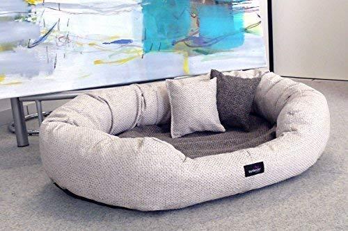 tierlando orthopädisches Hundesofa BALOU Hundebett Visco Plus Matratze | Handwebcharakter | Premium-Lounge! Gr. XXL 140cm Creme Beige Töne