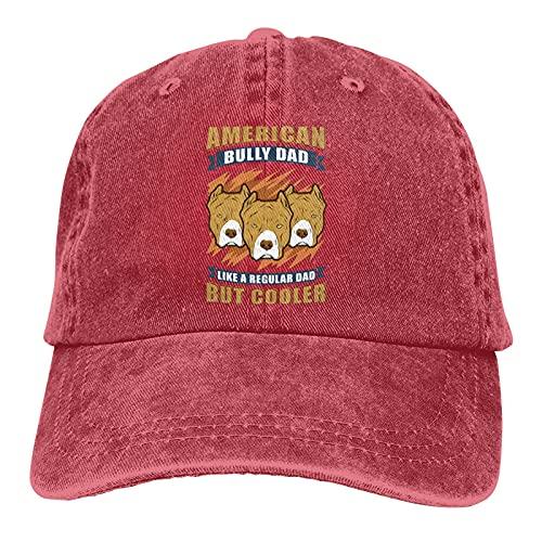 Gymini American Bully Dad Dog Owner American Bullys Sombrero Algodón Lavable Adulto Gorra de béisbol Ajustable para Hombre Mujer Rojo