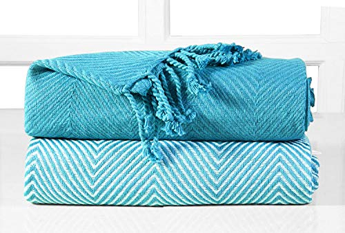EHC–Juego de 2Zigzag algodón Single Manta de sofá, Color Azul, 125x 150cm, Pack de 2
