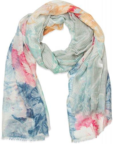 styleBREAKER 01016132 - Bufanda de tejido fino con estampado de acuarela y flores, aspecto de gofre, flecos en el dobladillo, para mujer