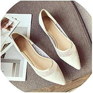 Lady Ballet Flats Sweet Pointy Toe Women's Flats Polka Dot Mesh Ballerina Flat Shoes