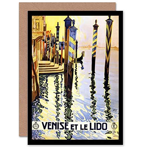 Verjaardagskaart, motief: Wee Blue Coo Travel Venice Italiaans kanaal gondel, blanco