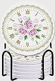 GUVICINIR Juego de 6 Posavasos de cerámica Absorbente con Base de Corcho,Apto para Tipos de Tazas,Shabby Flora Reloj Vintage Cara Rosas Números Romanos Estilo Vintage Antiguo