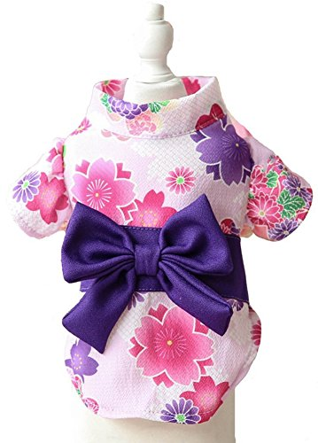 MaruPet Japanese Kimono for Girl Floral Pet Halloween Costume Bowknot Dog Dress for Small, Extra Small Dog Wiener Dog Teddy, Pug, Chihuahua, Shih Tzu, Yorkshire Terriers, Papillon White M