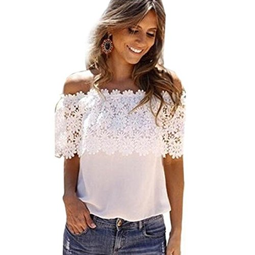 OVERDOSE Reizvolle Frauen Weg von der Schulter beiläufige Oberseiten Blusen Spitze Häkelarbeit Chiffon Hemd Tops Shirts (M, Weiß)