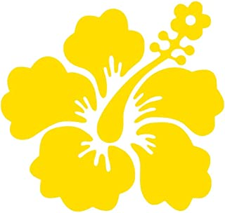 Hawaiian Hibiscus Flower [Pick Any Color] Vinyl Transfer Sticker Decal for Laptop/Car/Truck/Window/Bumper (5in x 4.7in (Car Size), Yellow)