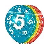 Folat - 5 Año Helio Adecuado Metálico Globos para Fiesta Decoración - Multicolor - 12In/30cm - 5 Piezas