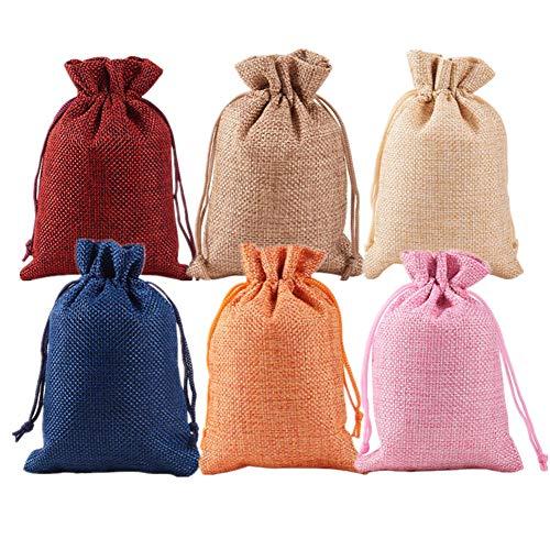 BENECREAT 30 PCS 6 Colores Activos Bolsas de Arpillera Bolsas de Regalo con Cordón Bolsa de Tela para Fiesta de Bodas y Artesanía de Bricolaje 5 PCS/Color