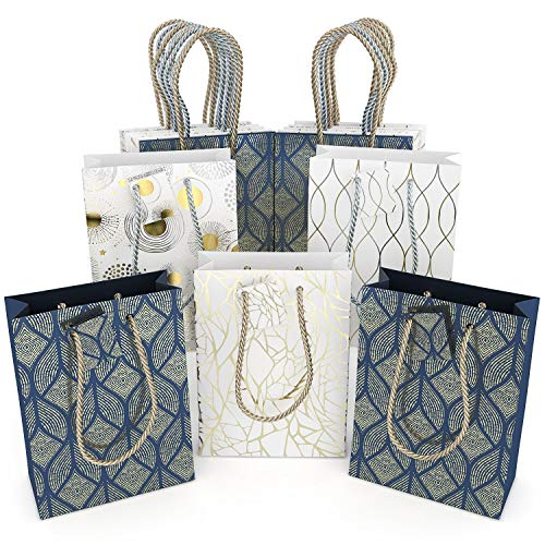 Assorted Gift Bags Bulk (Set of 16, Medium Size) - Assortment of 4 Styles Paper Bags with Handles, Navy Blue and White Color with Gold Foil Designs, Great Gift Wrap with Handles for any Occasion