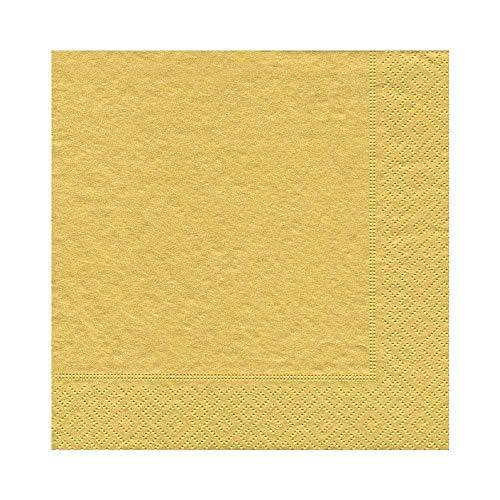 Caspari–Confezione da 20tovaglioli Luncheon, Tessuto, Oro, 16.5x 16.5x 0.2cm