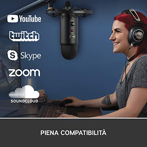 Blue Microphones Yeti, Microfono USB per Registrazione e Streaming su PC e Mac, 3 Capsule del Condensatore, 4 Modalità di Rilevamento, Uscita Cuffie e Controllo Volume, 16 Ohm, Nero
