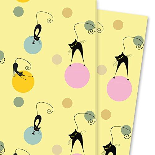Kartenkaufrausch Fröhliches Katzen Geschenkpapier Set mit Punkten auf gelb (4 Bogen, 32 x 47,5 cm) Dekorpapier, Musterpapier zum Einpacken, Designpapier, scrapbooking zum Basteln